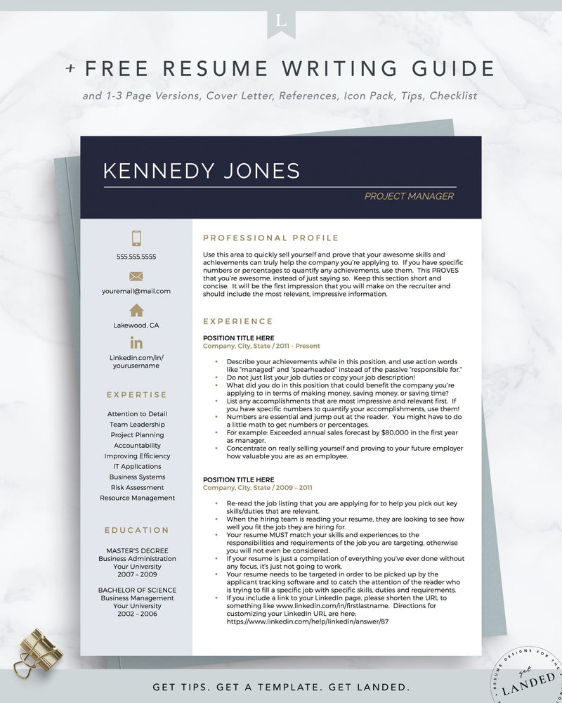 Project Manager Resume Template, IT Resume