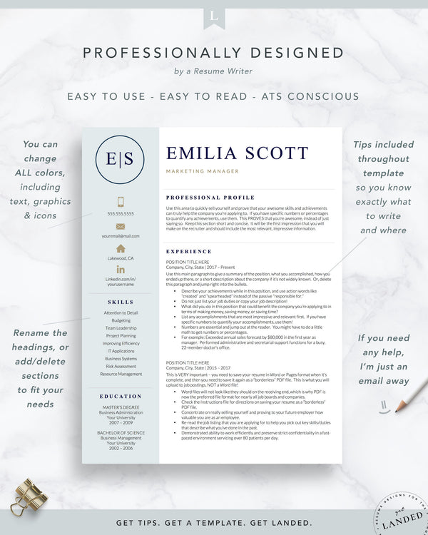 Creative, Stylish Resume Template for Word and Pages | The Emilia