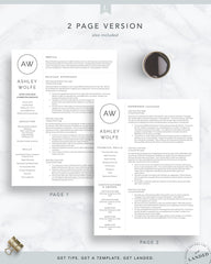 New Graduate Resume Template for Word and Pages | The Wolfe