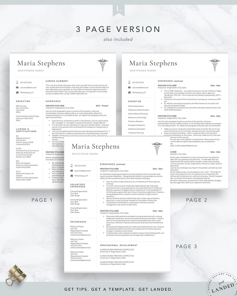 "Physician Assistant Resume Template, Nursing Resume Template, Nurse CV Template / ""The Maria"""