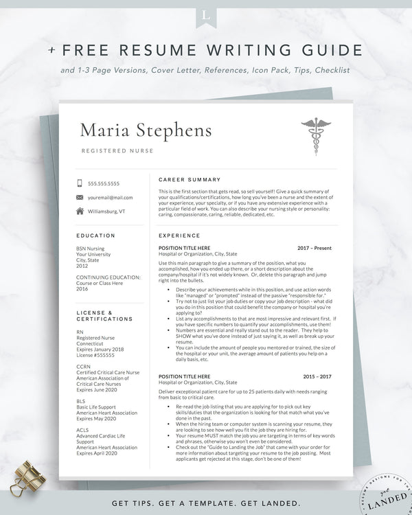 Physician Assistant Resume Template, PA Resume Template for Word & Pages