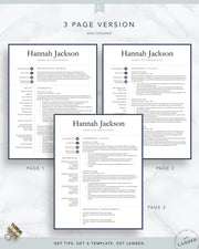 Professional Resume Template for Word and Pages | The Hannah