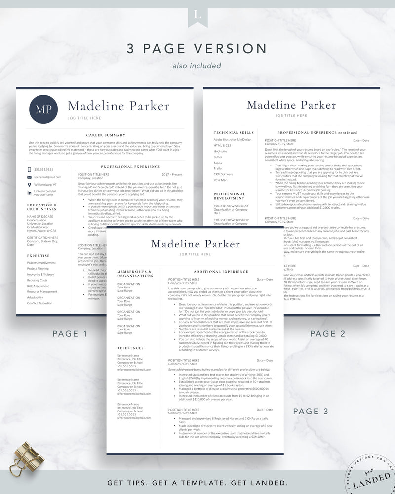 Professional Initials Resume Template for Word and Pages | The Parker