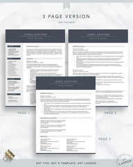 Professional Resume Template for Word and Pages | The Ashford
