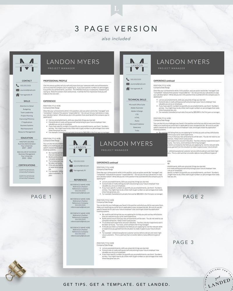 Professional Resume Template for Word and Pages | The Landon