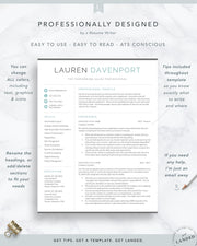 Modern Resume Template for Word and Pages | The Lauren