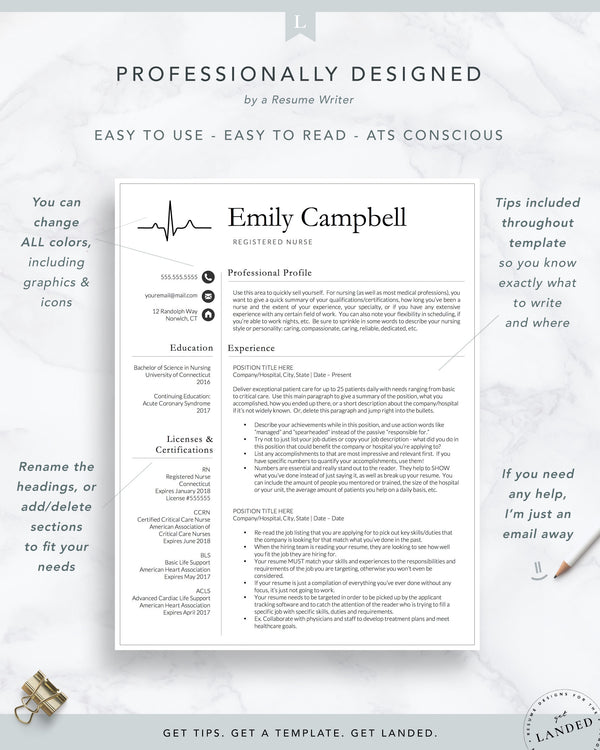 Nurse Resume Template / CV for Nursing Student, Nursing Graduation, Medical Assistant, CNA Resume, Physician Assistant Resume | The Emily