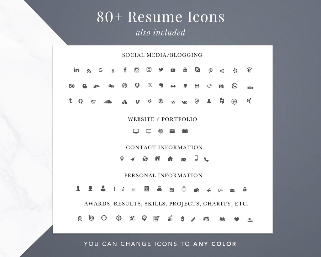 Resume Icons Pack, email phone address icons, linkedin icon for resume