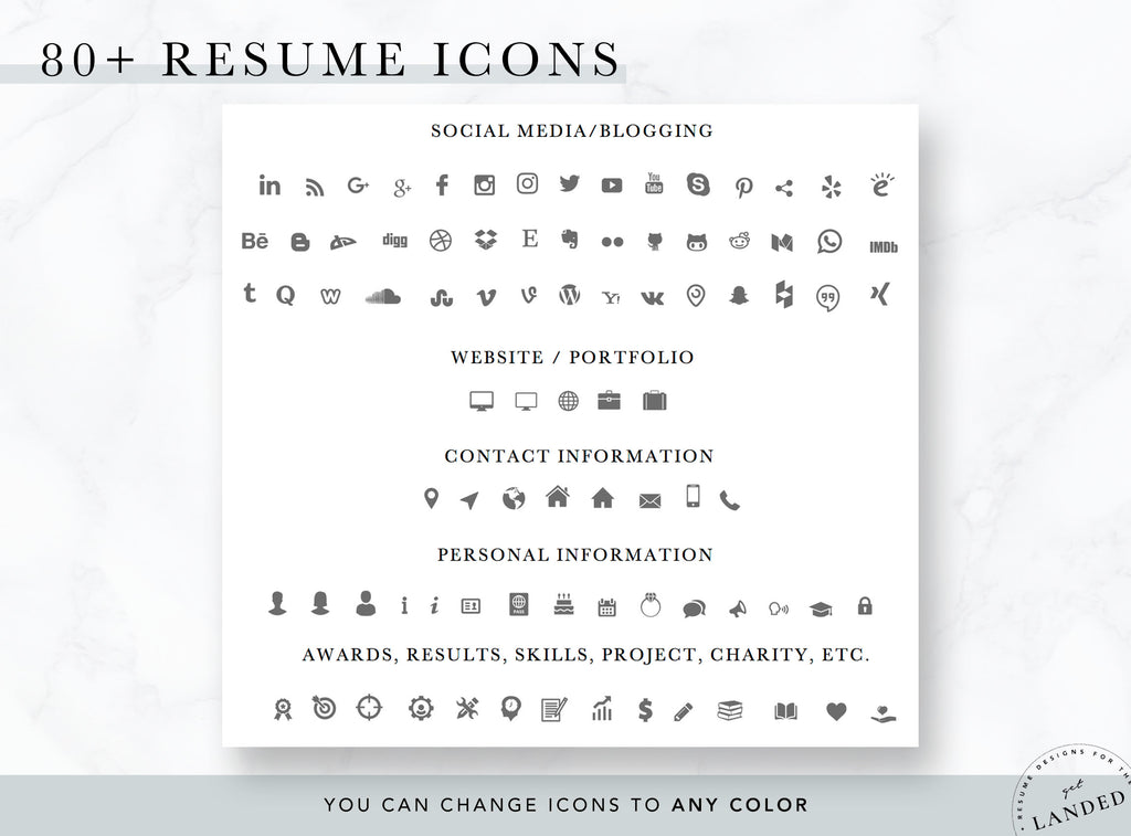 Resume and Social Media Icons