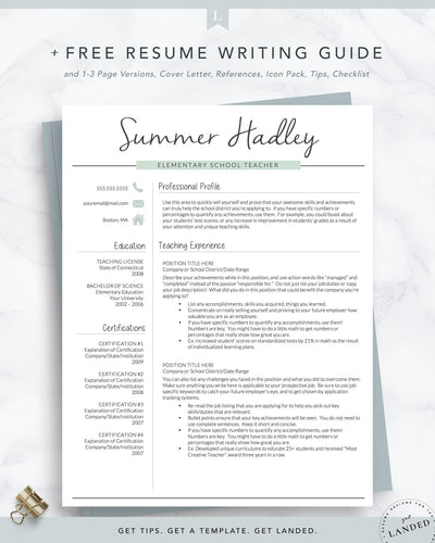 Teaching Resume Template, Education Resume