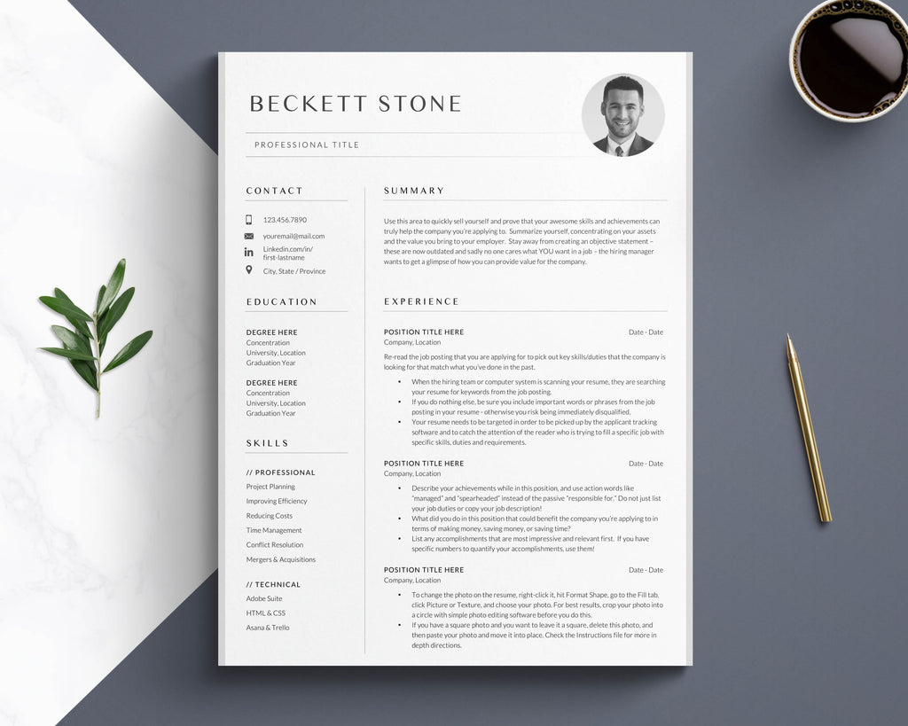 CV Template, Resume Template with Photo