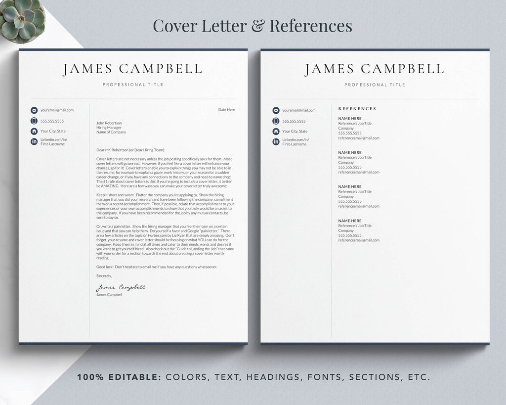 resume cover letter template word pages