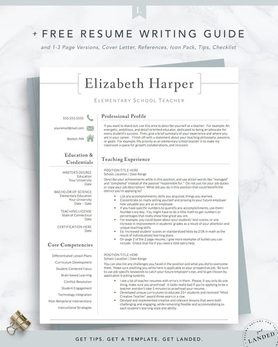 Teacher Resume Template for Word & Pages