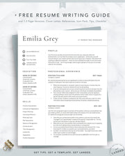 Modern Resume Template, Professional CV Template | The Emilia Grey