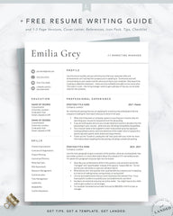 Modern Resume Template Professional Cv Template The Emilia Grey