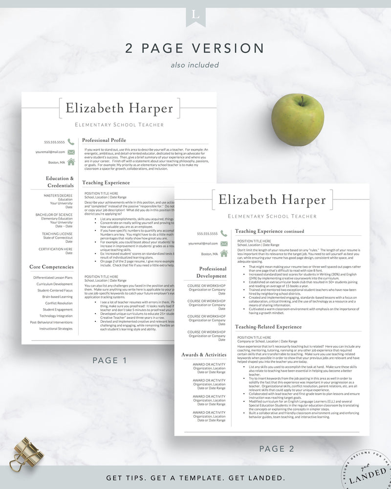 Teacher Resume Template for Word & Pages | The Harper | Principal Resume, Administrator Resume