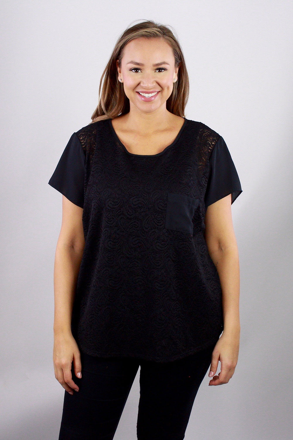 Black Lace Sheer Short-Sleeve Top - Plus