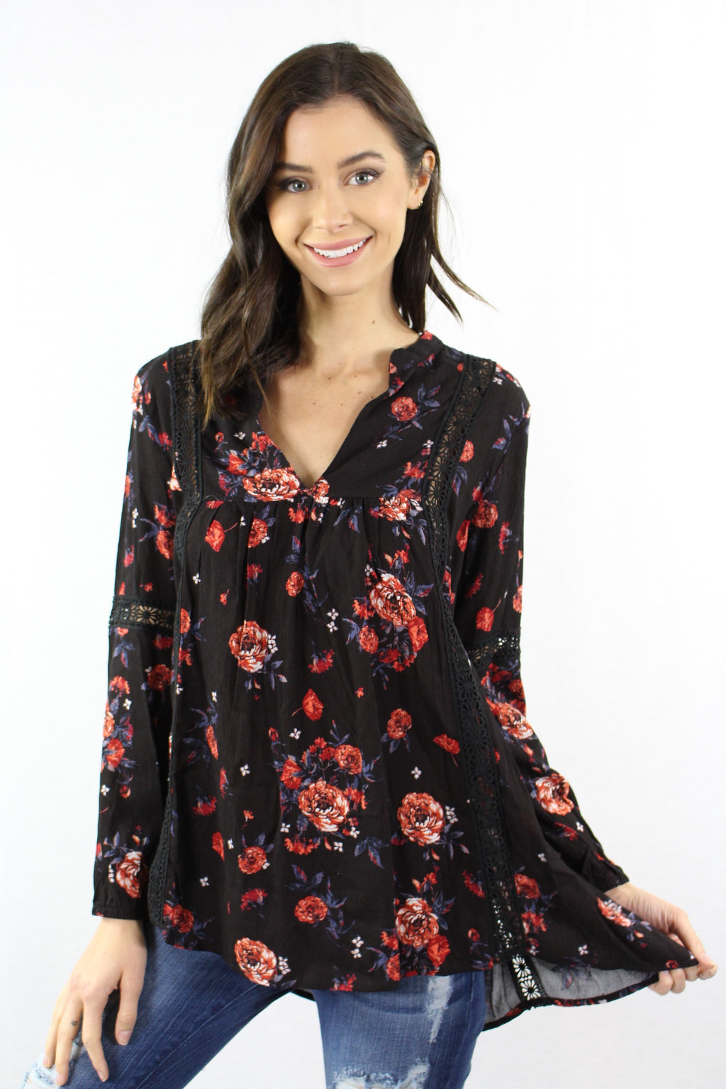 Long Sleeve Floral Top with Crochet Detail
