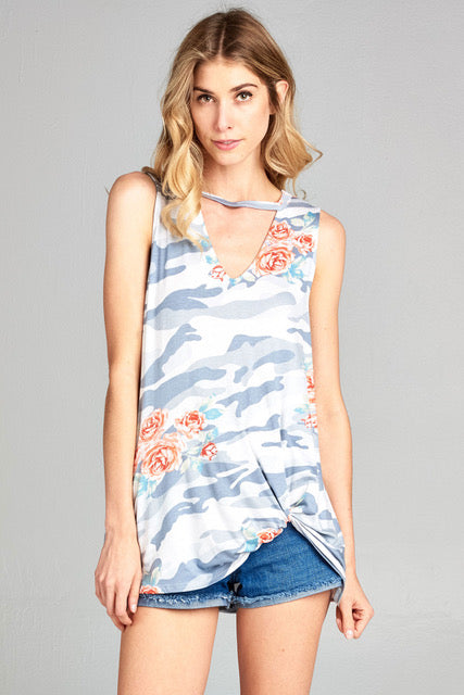 women's front keyhole sleeveless top