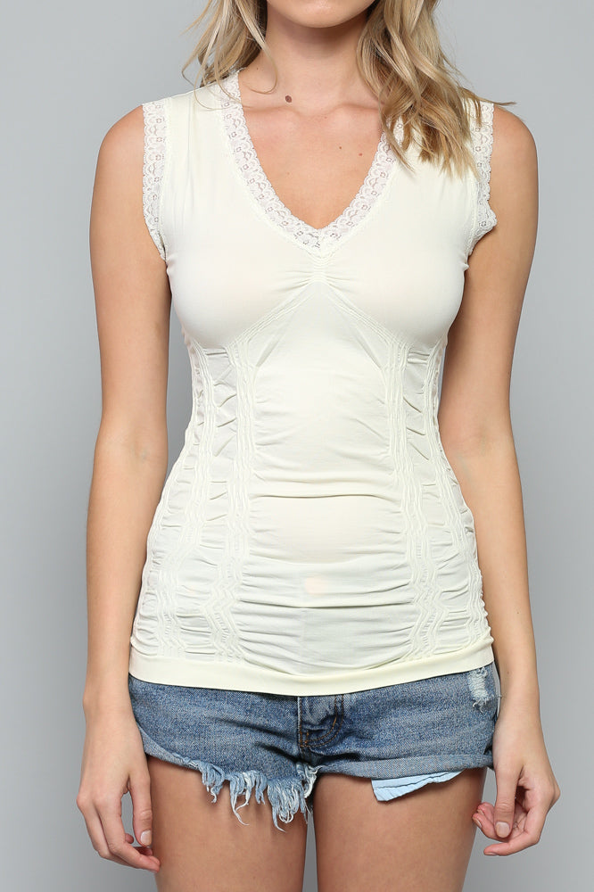 women's seamless lace trim tank