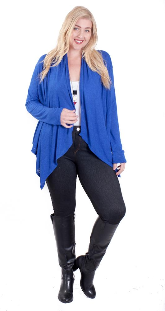 Royal Mid Length waterfall Knit Cardigan