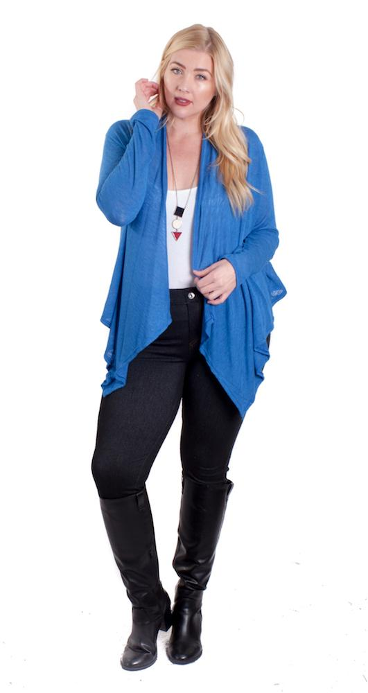 Blue Mid Length waterfall Knit Cardigan