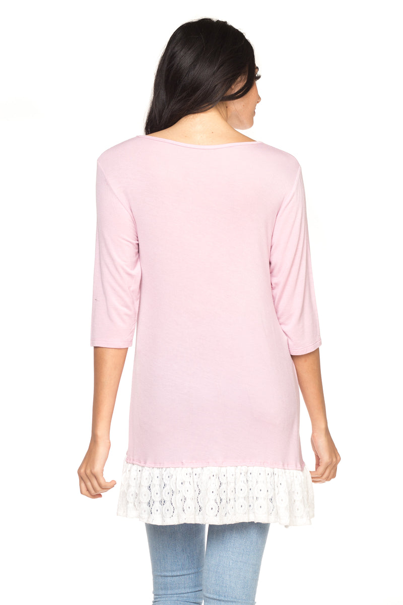 Lavender Long Sleeve Tunic with Lace Hem