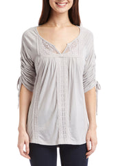 Grey embroidered Notch Neck Fashion Top