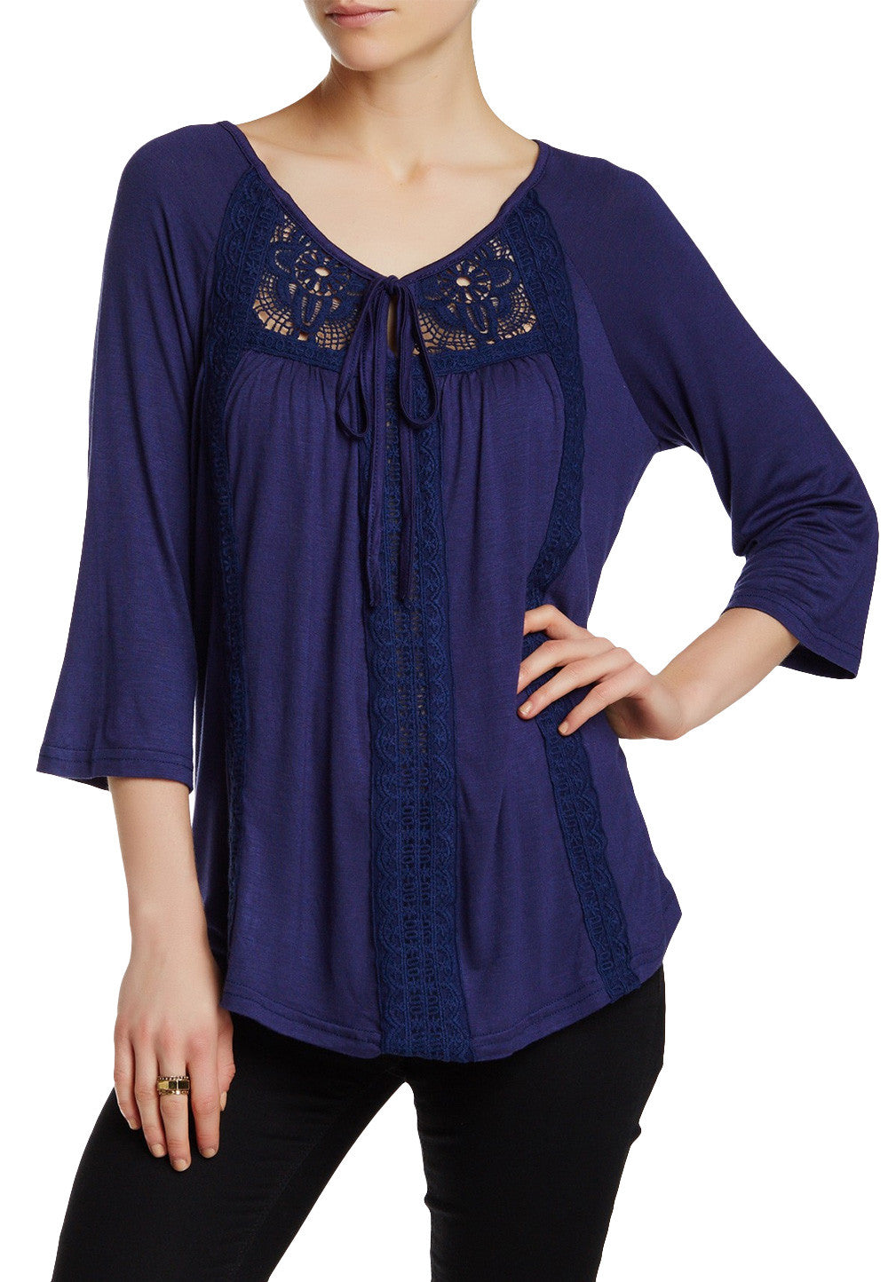 Navy embroidered Notch Neck Fashion Top