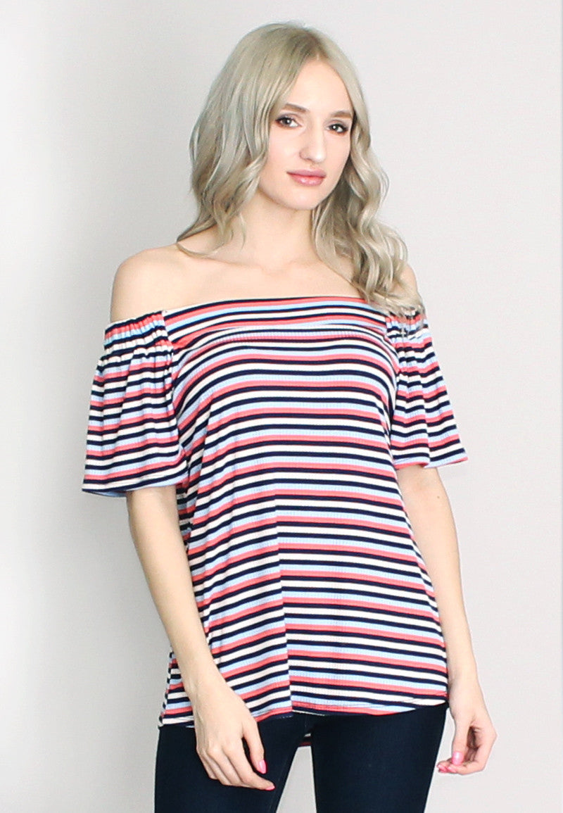 Coral, navy blue, sky blue, & white ribbed stripe off shoulder top