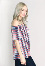 Off Shoulder Elbow Sleeve Stripe Rib Knit Top