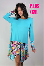 Women's Plus Size Long Sleeve Floral Detailed Tunic