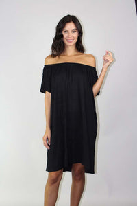 short sleeve off the shoulder dress