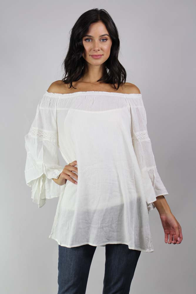 3/4 sleeve off the shoulder top with crochet details
