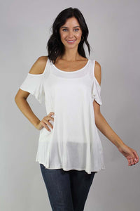 short sleeve cold shoulder top