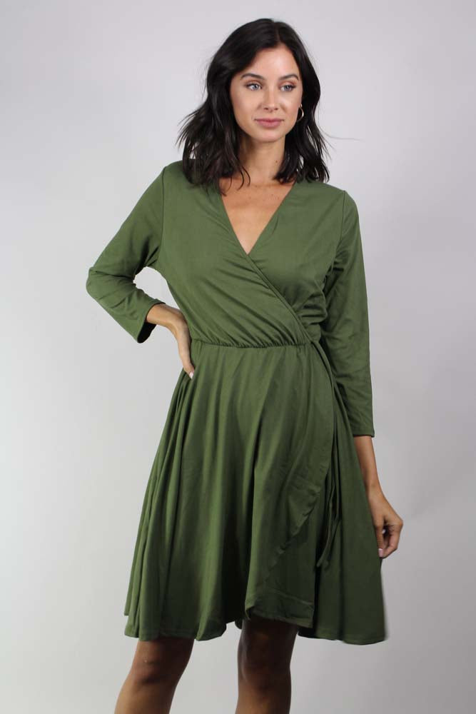 Women's plus size  3/4 sleeve wrap dress