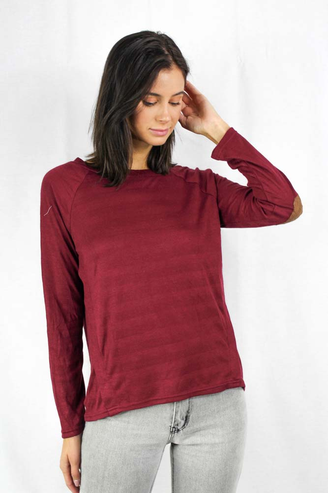 Burgundy long sleeve crew neck sweater with button details and elbow patches