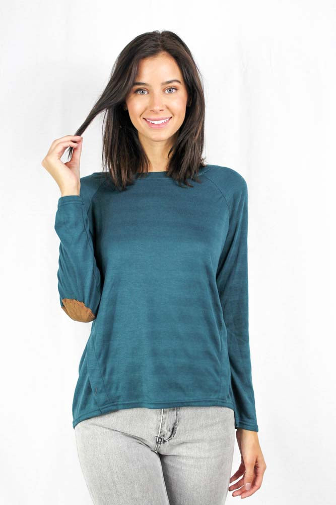Teal long sleeve crew neck sweater with button details and elbow patches