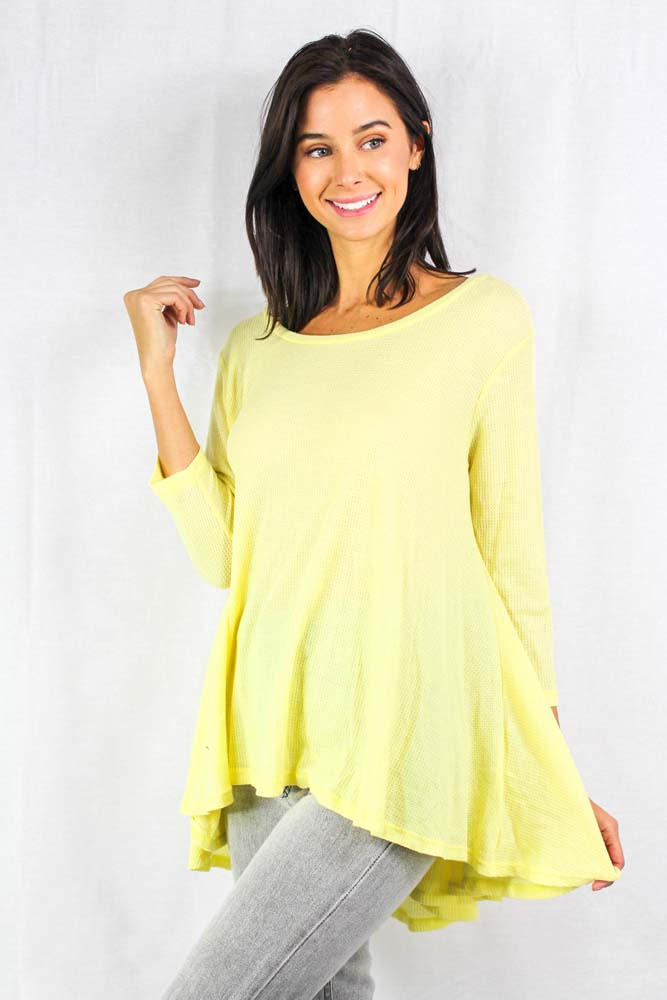 long sleeve light weight relaxed fit thermal top