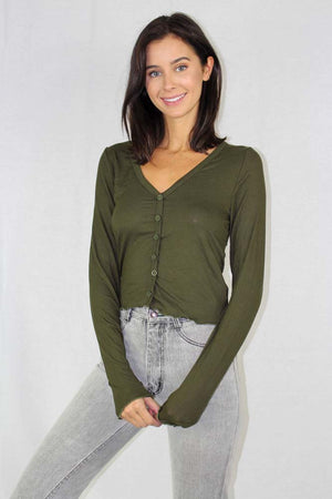 long sleeve button up ribbed crop