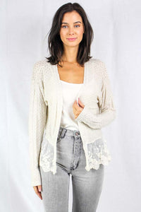 long sleeve knit cardigan with lace details