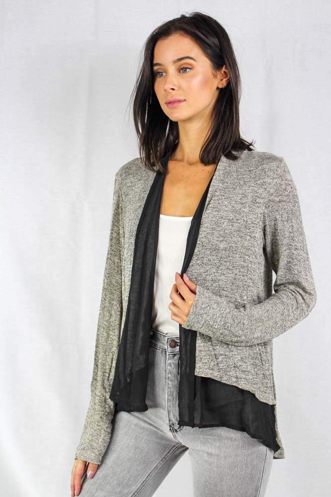 long sleeve gray cardigan with black chiffon trim