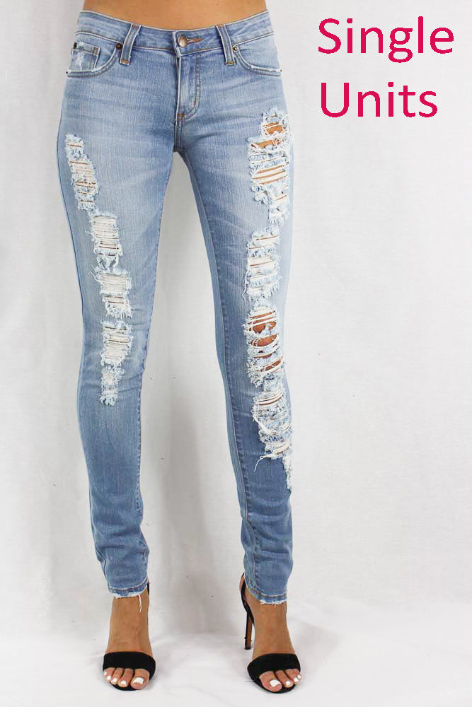 Women's Lightly Faded Distressed Skinny Jeans