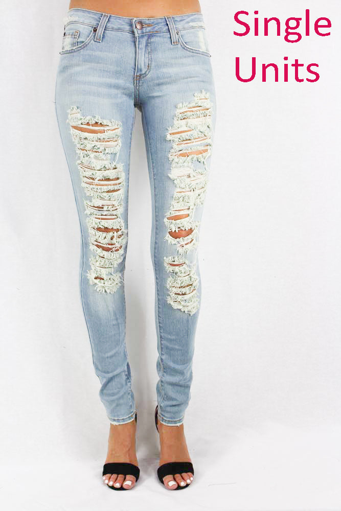 Women's Light Faded Distressed Skinny Jeans