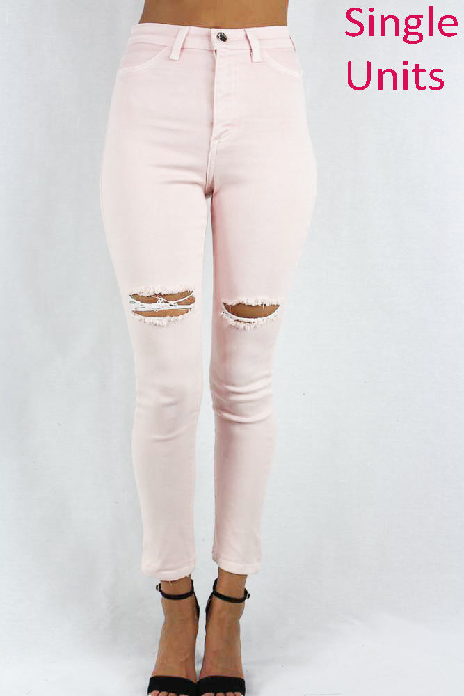 Pink Distressed Knee Jeans for Women