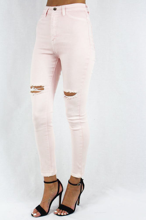 Pink Distressed Jeans for Women