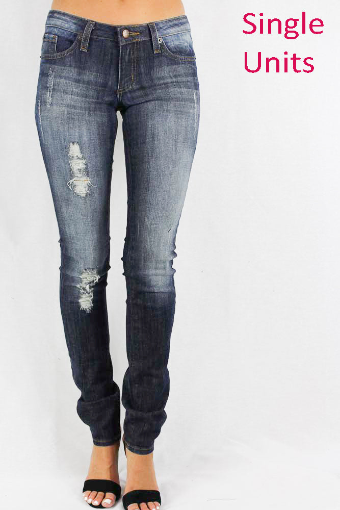 Medium Stone Washed Distressed Navy Jeans for Women