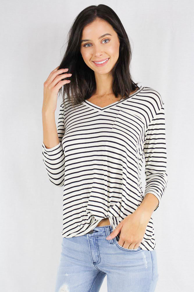 3/4th sleeve striped v neck top with chest pocket detail