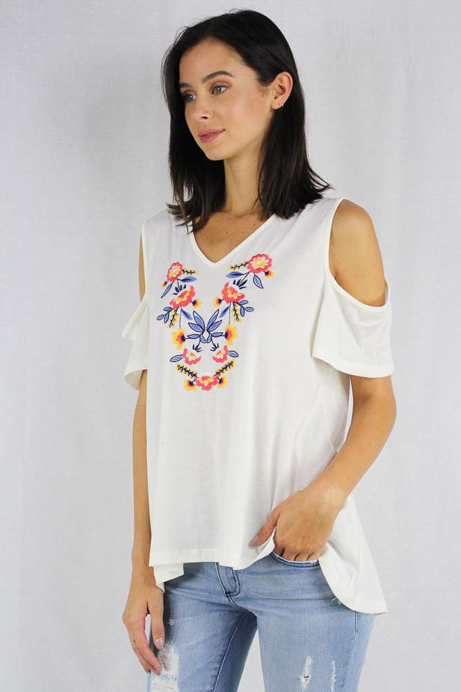 White off shoulder floral crochet top