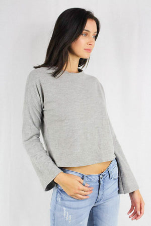 long sleeve gray knit cropped sweater